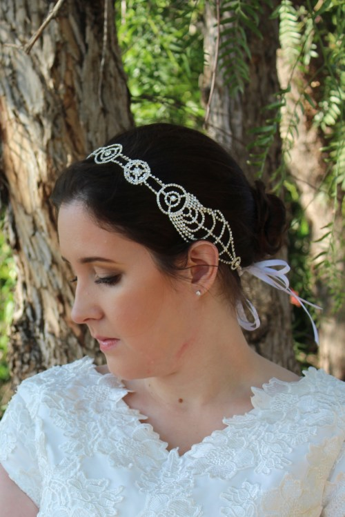 Katrina Art Nouveau Bridal Headpiece with Ribbon Ties