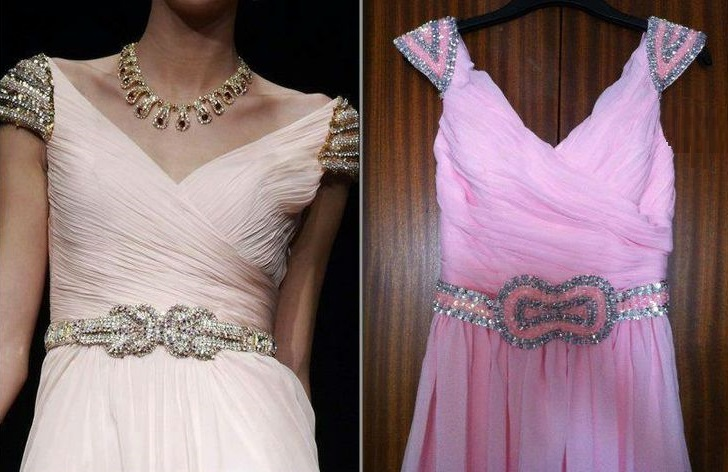 An Original Designer Dress on the Left, with a Counterfeit to the Right