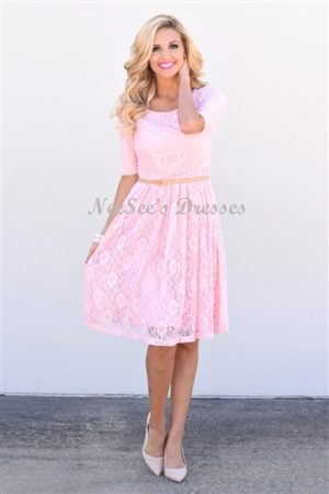 The Emmy Pink Lace Modest Dress
