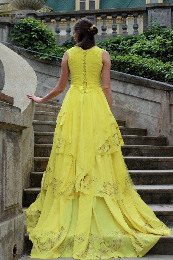 Back of Belle 2017 Beauty Beast Emma Watson Gold Yellow Ball Gown Dress Womens Cosplay Costume