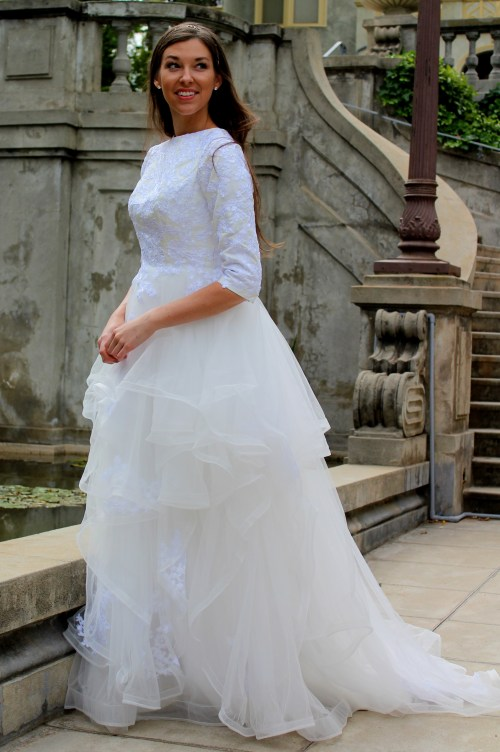 Alexandra Tznius Ivory & White Modest Wedding Dress with Sleeves by Fountain