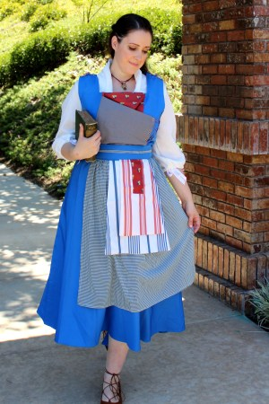 Emma Watson Belle 2017 Live Action Blue Peasant Dress Walking Past Archway