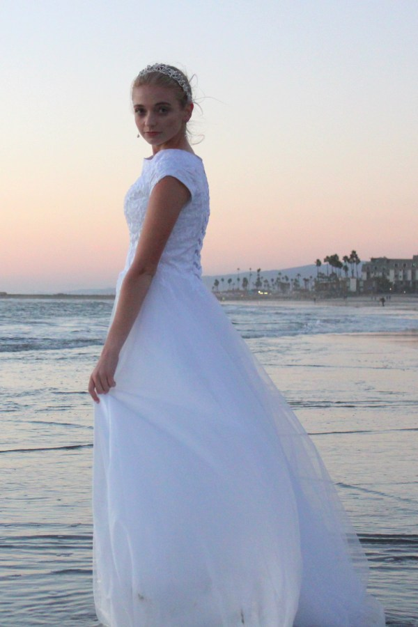 Ceclia LDS Modest Lace Tulle Modest Wedding Dress Sideview