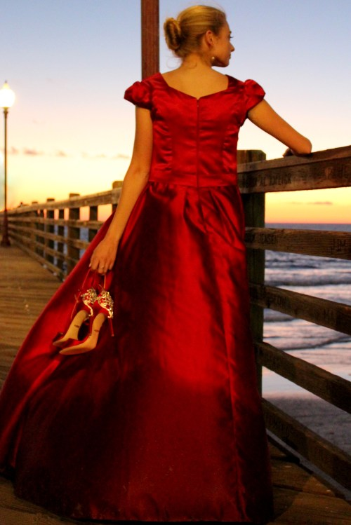 Clara Red Satin Modest Formal Prom Dress Sleeves Back View