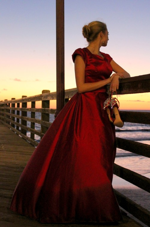 Clara Red Satin Modest Formal Prom Dress Sleeves Pier