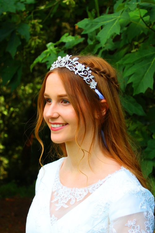 Meghan Silver Rhinestone Bridal Headpiece Crown