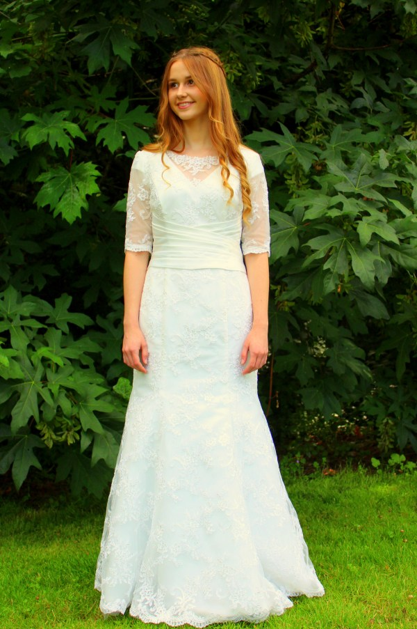 Heather Ivory Lace LDS Wedding Dress