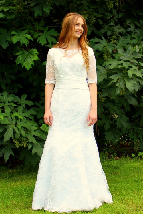Heather Modest Ivory LaceWedding Dress