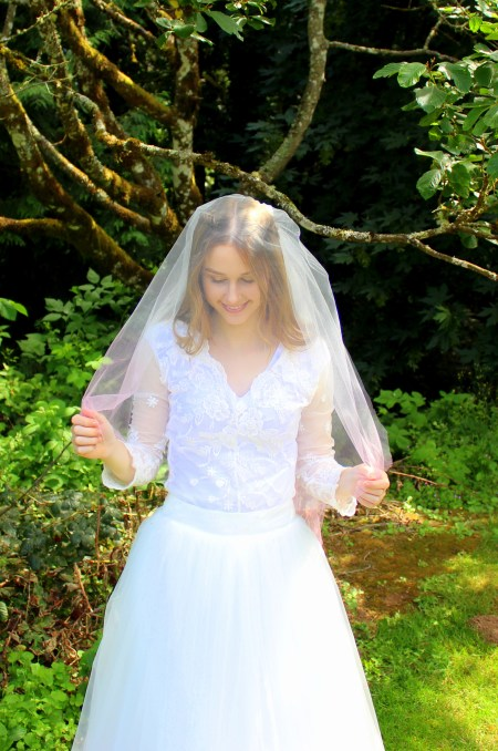 Pink Ombre Dip Dyed Two Tier Wedding Veil Blusher
