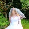 Pink Ombre Two Tier Wedding Veil Blusher