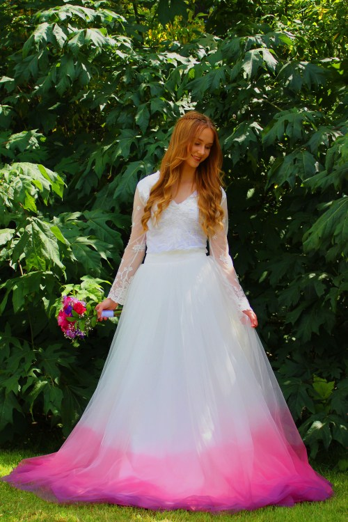 Pink Purple Ombre Wedding Dress Tulle Skirt (2)