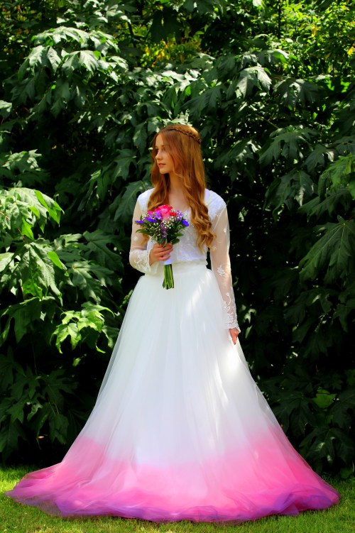 Pink Purple Ombre Wedding Dress Tulle Skirt