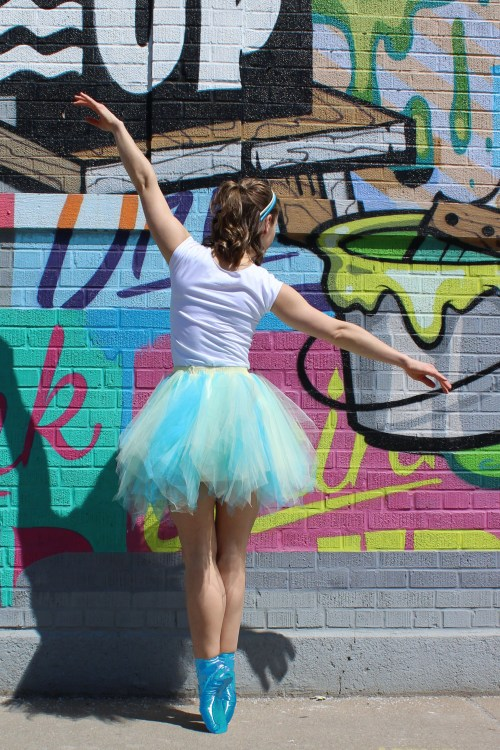 Turquoise Yellow Short Retro Petticoat Slip Back View