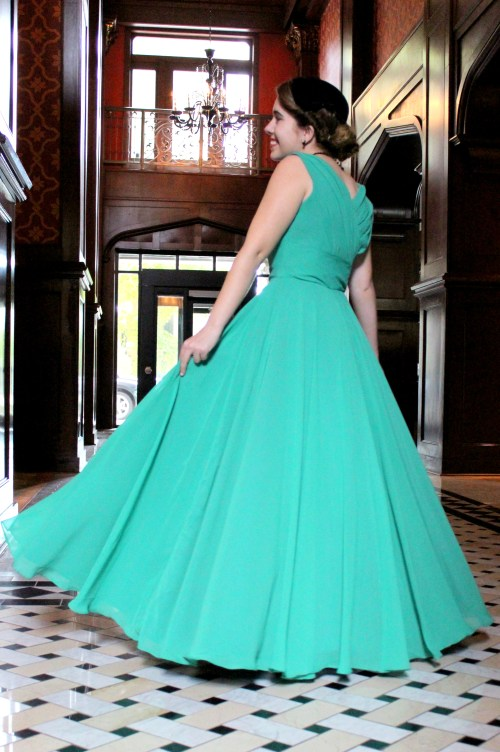 Back of Emmaline Vintage Inspired Green Modest Formal
