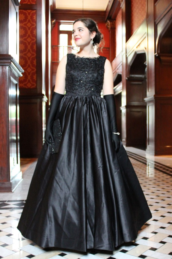 Black Beaded Duchess Satin Vintage Inspired Modest Formal Dress