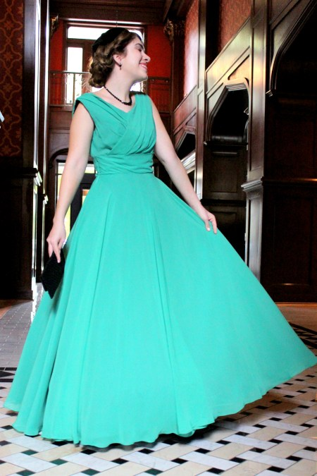 Emmaline Vintage Inspired Green Modest Prom Dress