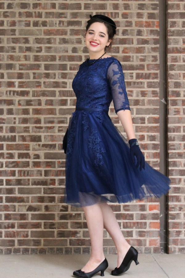 Navy Blue Vintage Inspired Modest Prom Dress with Sleeves