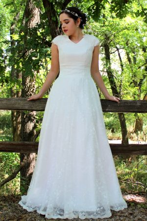 Rosalyn LDS Ivory Modest Wedding Dress Sleeves