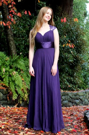 Purple Cheap Modest Prom Dress Keyhole
