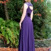 Purple Cheap Modest Prom Dress Sleeves Keyhole