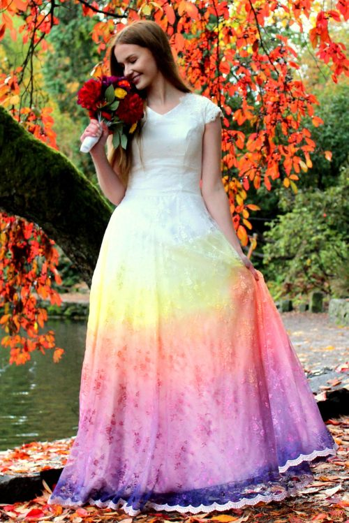 Rainbow Ombre Wedding Dress with Sleeves