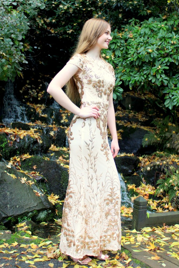 Gold Sequin Modest Prom Dress Sleeves