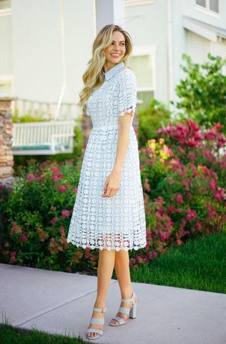 Blue Lace Collared Modest Dress