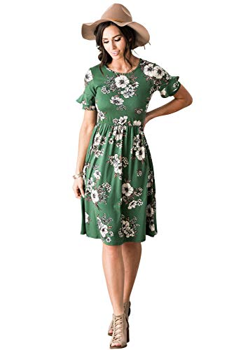 Green Floral Modest Dress