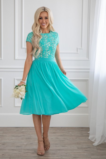 Jen Clothing Tiffany Blue Modest Dress