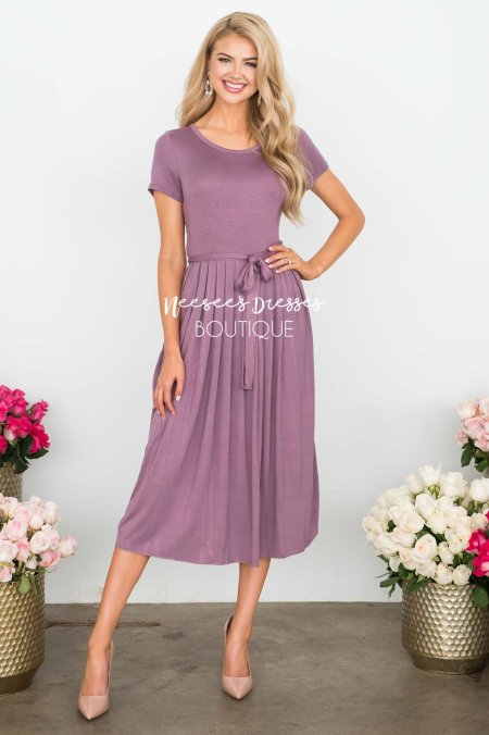 Plum Pleated Modest Dress
