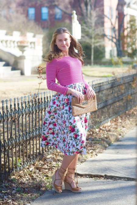 Striped Floral Modest Dress