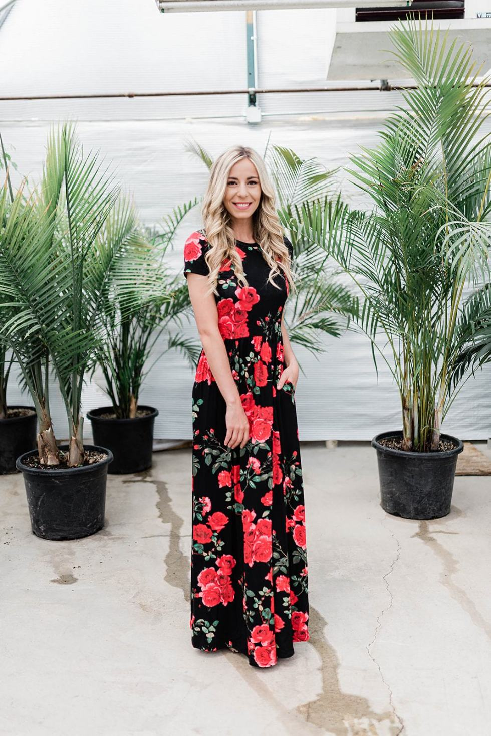 Cleo Madison Modest Black & Red Floral Dress with Sleeves