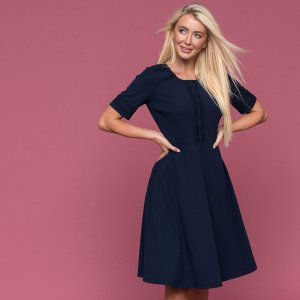 Downeast Navy Modest Lace Trim Dress with Sleeves