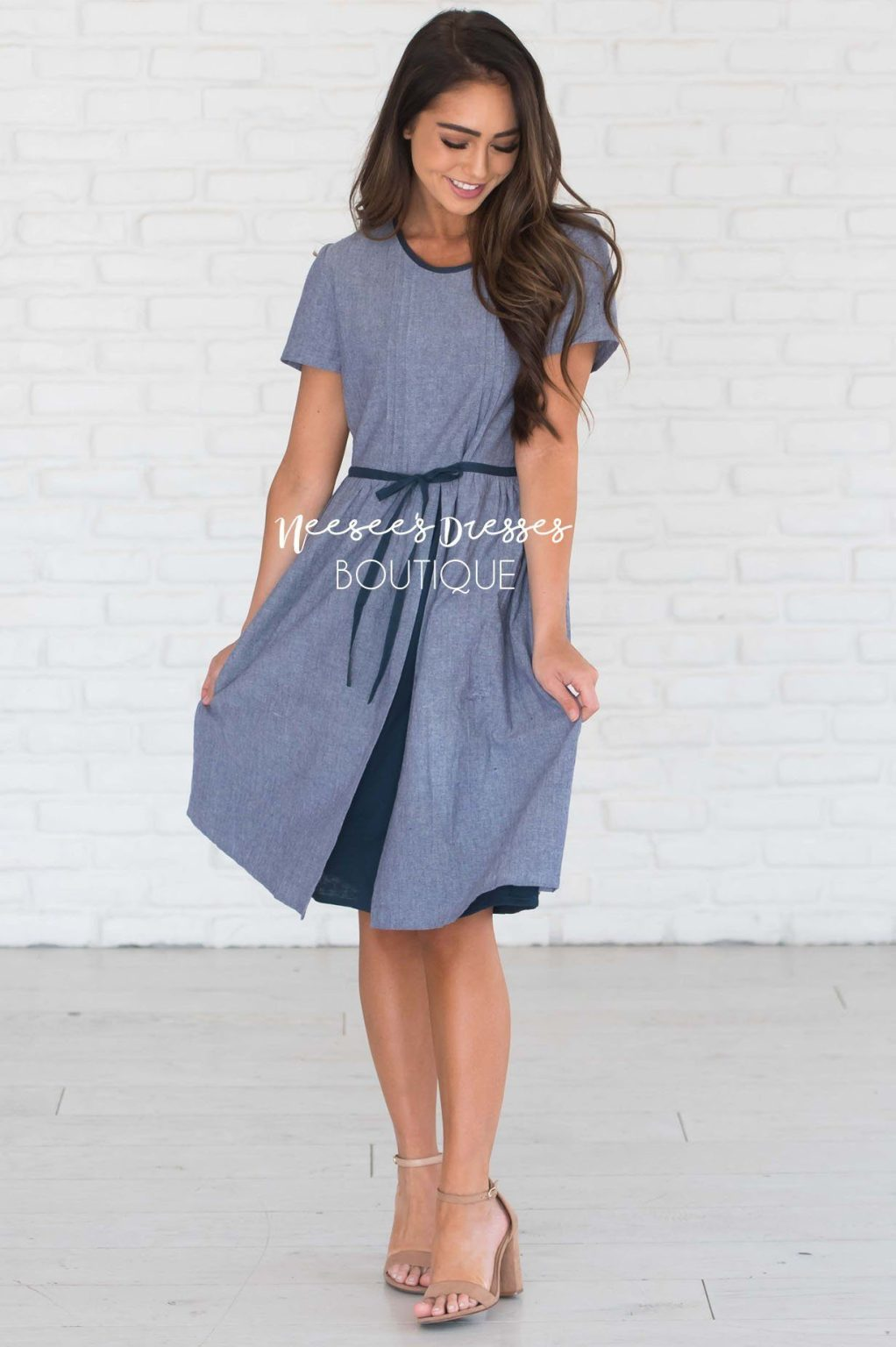 Neesees Dresses Navy Blue Modest Dress