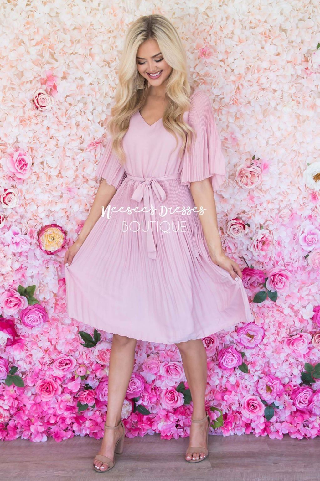 Neesees Dresses Modest Pink Pleated Dress