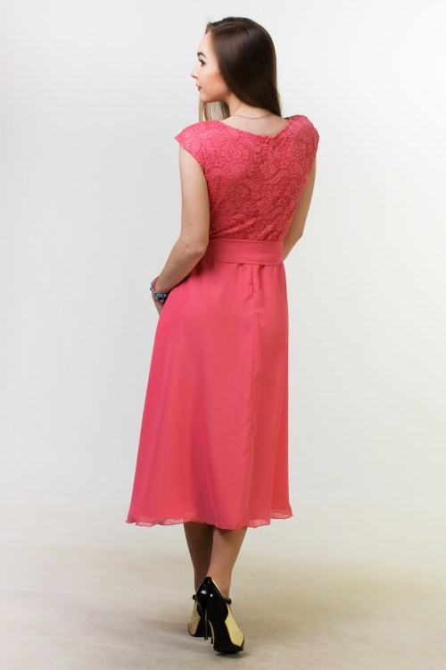 Back Coral Lace Modest Homecoming Dress Cap Sleeves
