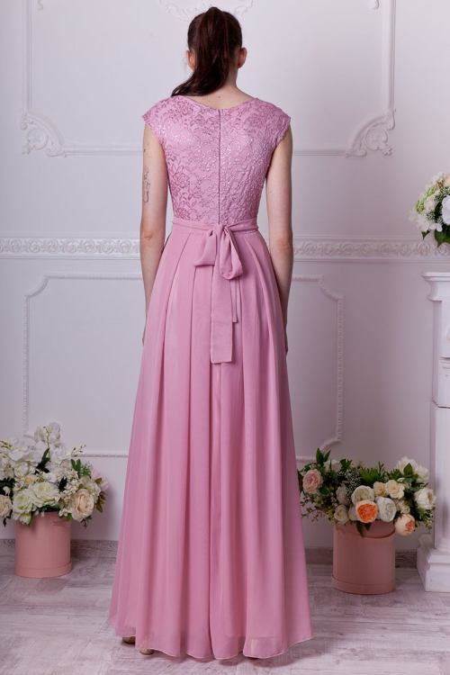 Back Flora Dusty Rose Lace Modest Prom Dress