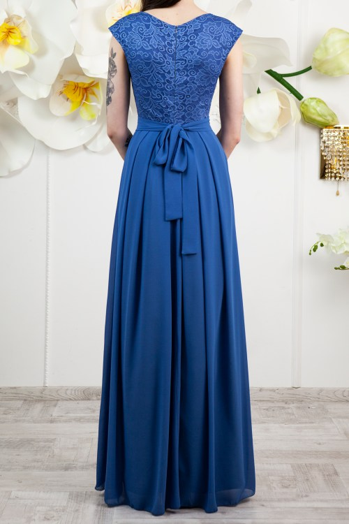 Back Marina Ocean Blue Lace Modest Prom Dress
