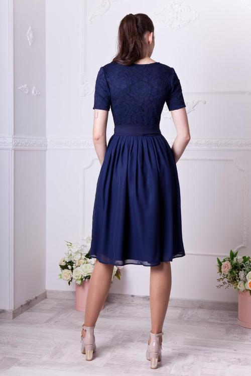 Back Navy Lace Modest Homecoming Dress