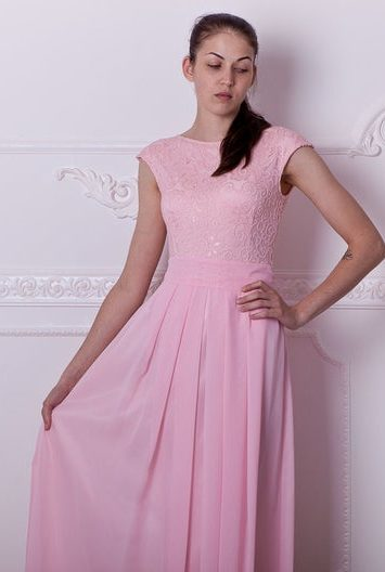 Close Up Blush Pink Long Lace Modest Prom Dress Cap Sleeves