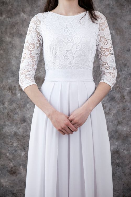 Close up Christina Lace Modest Wedding Dress
