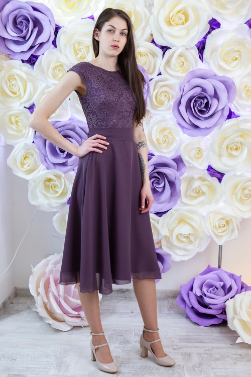 Dusty Purple Modest Prom Dress Sleeves