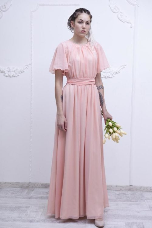 Flutter Sleeve Modest Chiffon Bridesmaids Dress