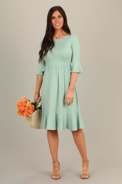 LatterDay Bride Modest Sage Dress