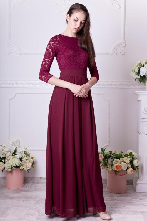 Laura Burgundy Modest Lace Prom Dress Sleeves
