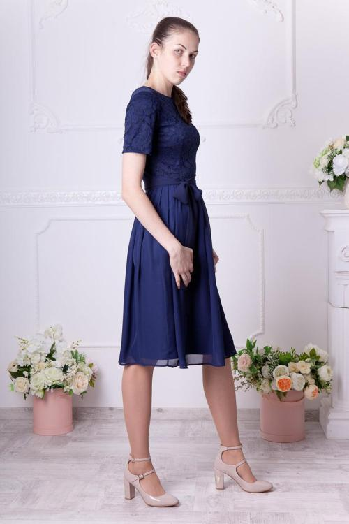 Sideview Navy Lace Modest Homecoming Dress