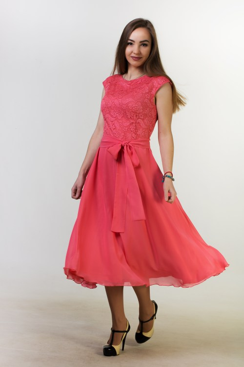 Swinging Skirt Coral Lace Modest Homecoming Dress Cap Sleeves