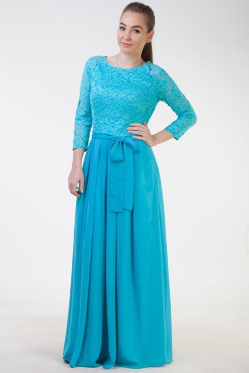 Turquoise Lace Modest Prom Dress