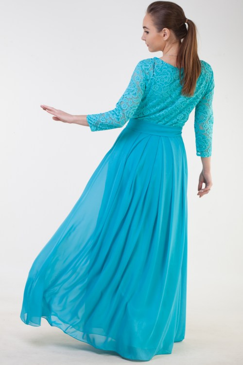 Back Athena Turquoise Lace Modest Prom Dress Sleeves