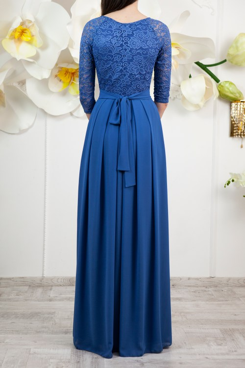 Back Karen Marine Blue Modest Prom Dress